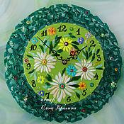 Для дома и интерьера handmade. Livemaster - original item Watch glass. Russian field. Fusing. Wall clock. Handmade.