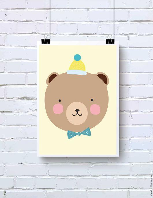 Детская ручной работы. Ярмарка Мастеров - ручная работа. Купить Постер для детской Мишка в шапочке. Handmade. Постер, интерьерное украшение