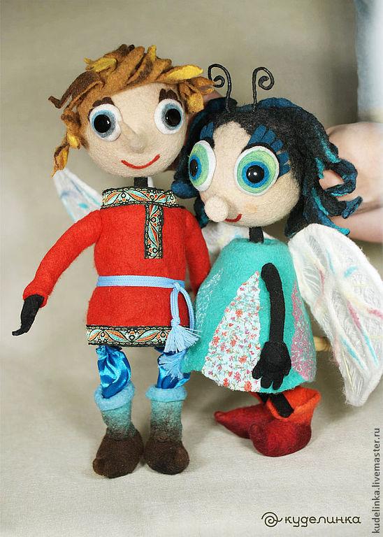 Купить Муха-цокотуха и Комар. Театральные планшетные куклы. Кукольный театр - бирюзовый, перчаточная кукла
