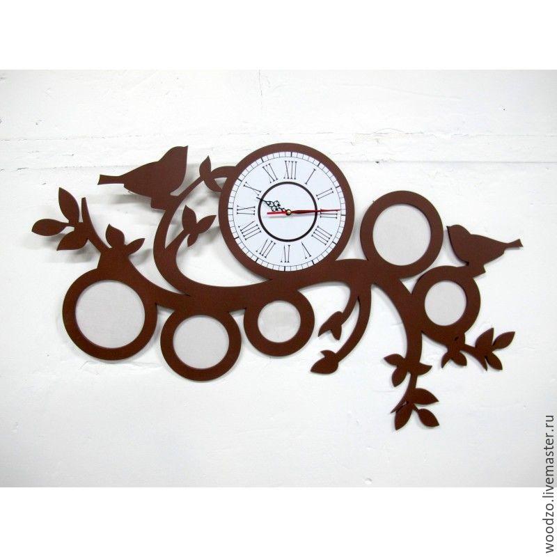 """Часы для дома ручной работы. Ярмарка Мастеров - ручная работа. Купить Часы с фоторамками """"Птички"""". Handmade. Птицы, белый, интерьер"""