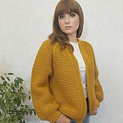 Одежда handmade. Livemaster - original item Handmade knitted mustard cardigan for women. Handmade.