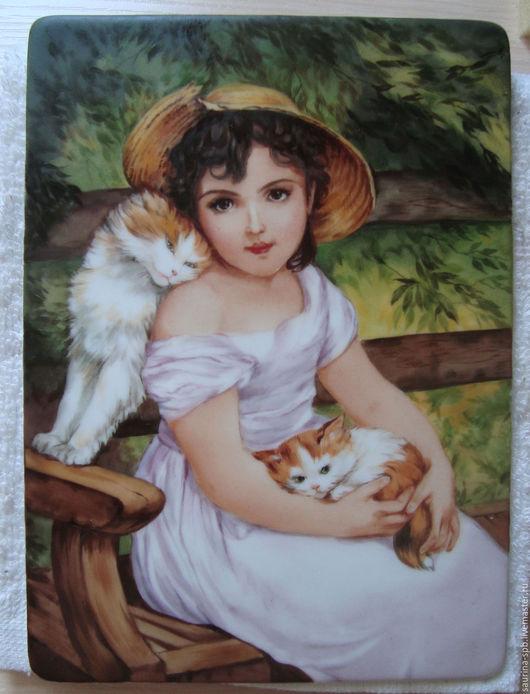 Персональные подарки ручной работы. Ярмарка Мастеров - ручная работа. Купить портрет девочки с котятами. Handmade. Зеленый, портрет на заказ