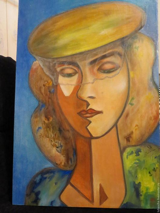 Люди, ручной работы. Ярмарка Мастеров - ручная работа. Купить Девушка в шляпке с вуалью. Handmade. Комбинированный, масло