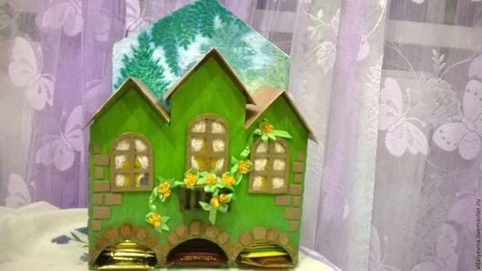 Кухня ручной работы. Ярмарка Мастеров - ручная работа. Купить Чайный домик. Handmade. Ярко-зелёный, ручная работа, картон