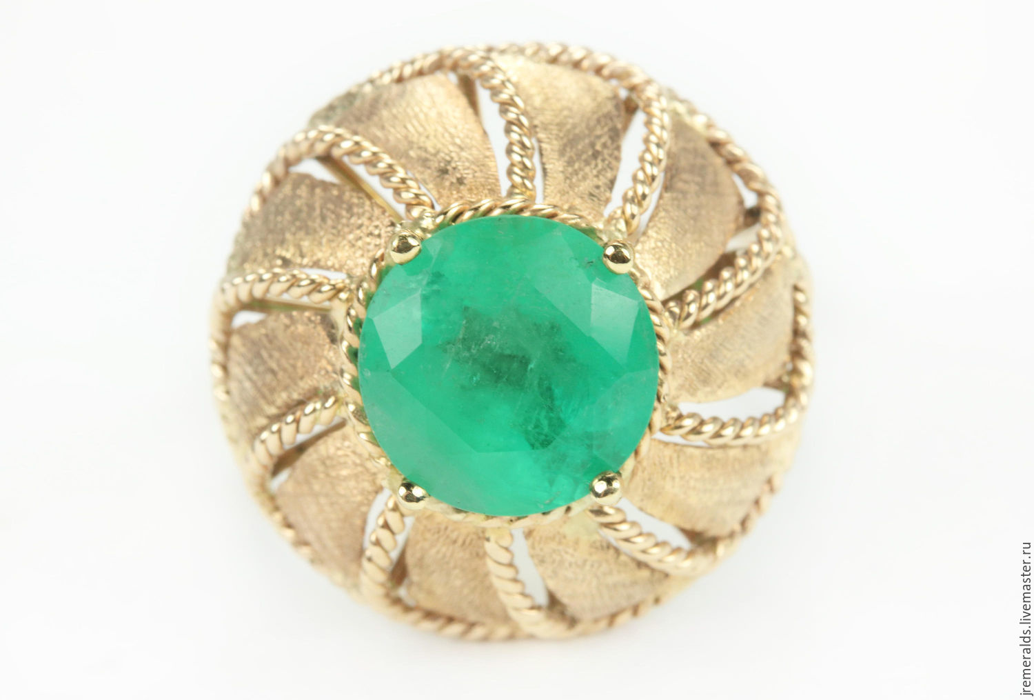3.10ct Round Colombian Emerald Solitaire Ring 14K, Rings, West Palm Beach,  Фото №1