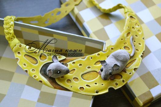 """Браслеты ручной работы. Ярмарка Мастеров - ручная работа. Купить Колье из кожи """"Мышкино счастье"""". Handmade. Желтый, браслет из кожи"""