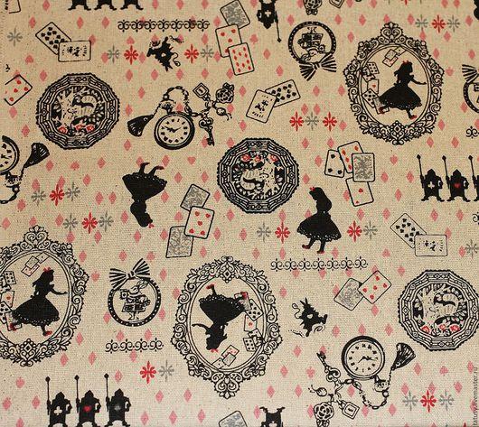 Шитье ручной работы. Ярмарка Мастеров - ручная работа. Купить Ткань лен хлопок  Алиса в стране чудес (винтаж, прованс,ретро,кантри)). Handmade.