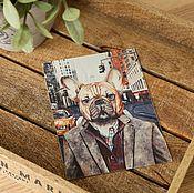 Открытки ручной работы. Ярмарка Мастеров - ручная работа Набор открыток с бульдогом. 4 штуки. Handmade.