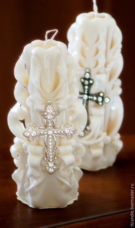 Сувениры ручной работы. Ярмарка Мастеров - ручная работа. Купить Резная свеча «КРЕСТ». Handmade. Белый, кремовый, свеча резная