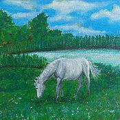 Картины и панно ручной работы. Ярмарка Мастеров - ручная работа Белогривая  лошадка.. Handmade.