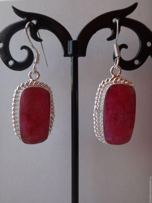"""Серьги ручной работы. Ярмарка Мастеров - ручная работа. Купить Серьги """"Рубиновые"""". Handmade. Ярко-красный, квадратный камень"""
