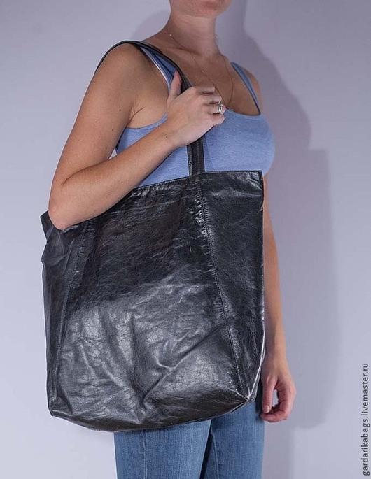 Женские сумки ручной работы. Ярмарка Мастеров - ручная работа. Купить Большая черная сумка из телячьей кожи. Handmade. Черный