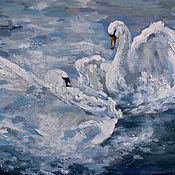 """Картины ручной работы. Ярмарка Мастеров - ручная работа Картина маслом """"Лебеди"""" картина на заказ. Handmade."""