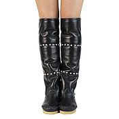 Обувь ручной работы handmade. Livemaster - original item Winter high boots Hessian Bots with natural fur sheepskin /black/. Handmade.