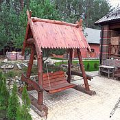 Мебель ручной работы. Ярмарка Мастеров - ручная работа Качели садовые из дерева (массива) с крышей. Handmade.