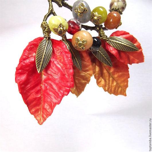 Колье, бусы ручной работы. Ярмарка Мастеров - ручная работа. Купить Колье Дивная осень, полимерная глина и натуральные камни. Handmade.
