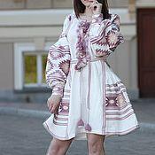 Одежда handmade. Livemaster - original item White Embroidered linen dress Embroidered Linen Boho dress. Handmade.