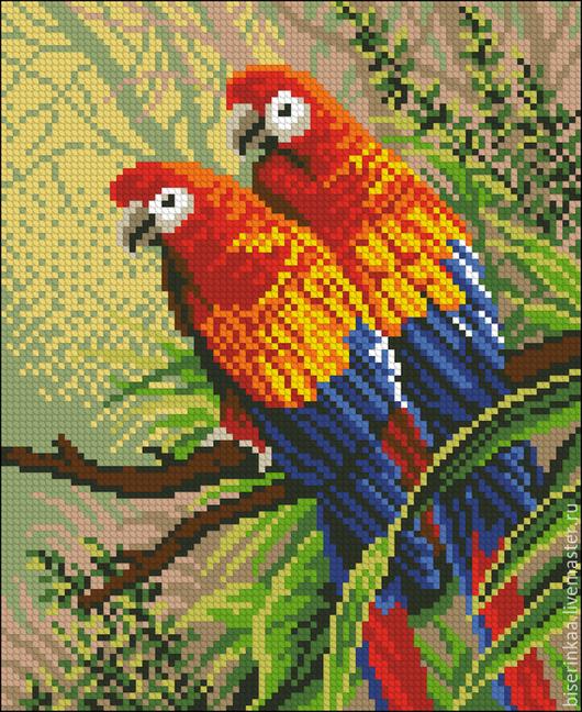 Схема для вышивания бисером `Пара попугайчиков` с полной зашивкой