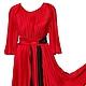 Платья ручной работы. Ярмарка Мастеров - ручная работа. Купить Платье с рукавами. Handmade. Ярко-красный, однотонный, яркое платье