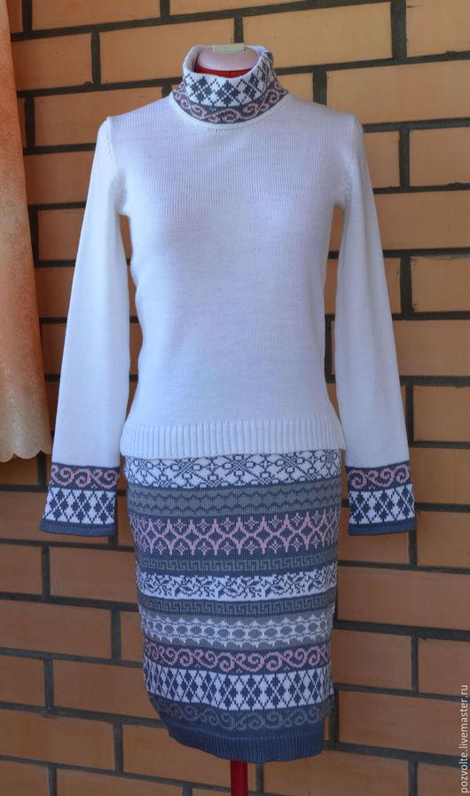 Юбки ручной работы. Ярмарка Мастеров - ручная работа. Купить Юбка + свитер 2. Handmade. Орнамент, юбка теплая