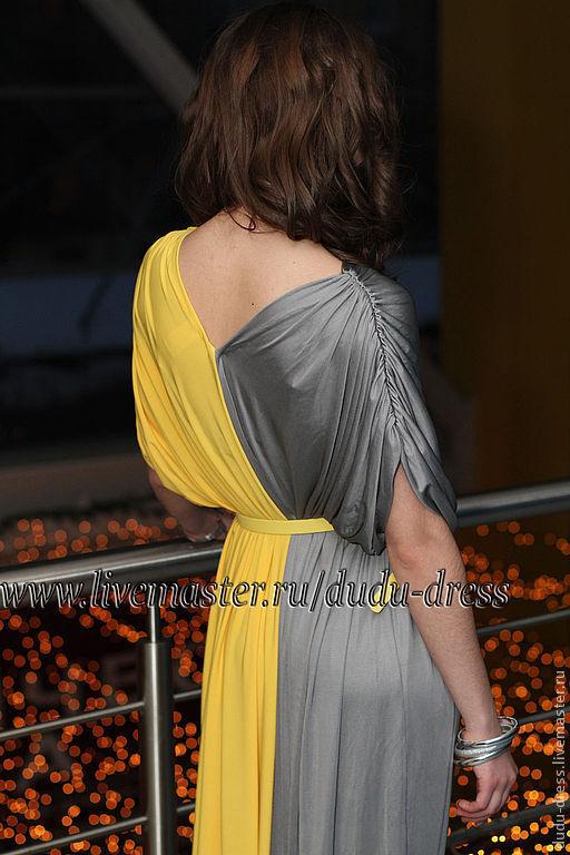 Платья ручной работы. Ярмарка Мастеров - ручная работа. Купить Двухцветное платье серо-жёлтое в пол. Handmade. Однотонный, двухцветный