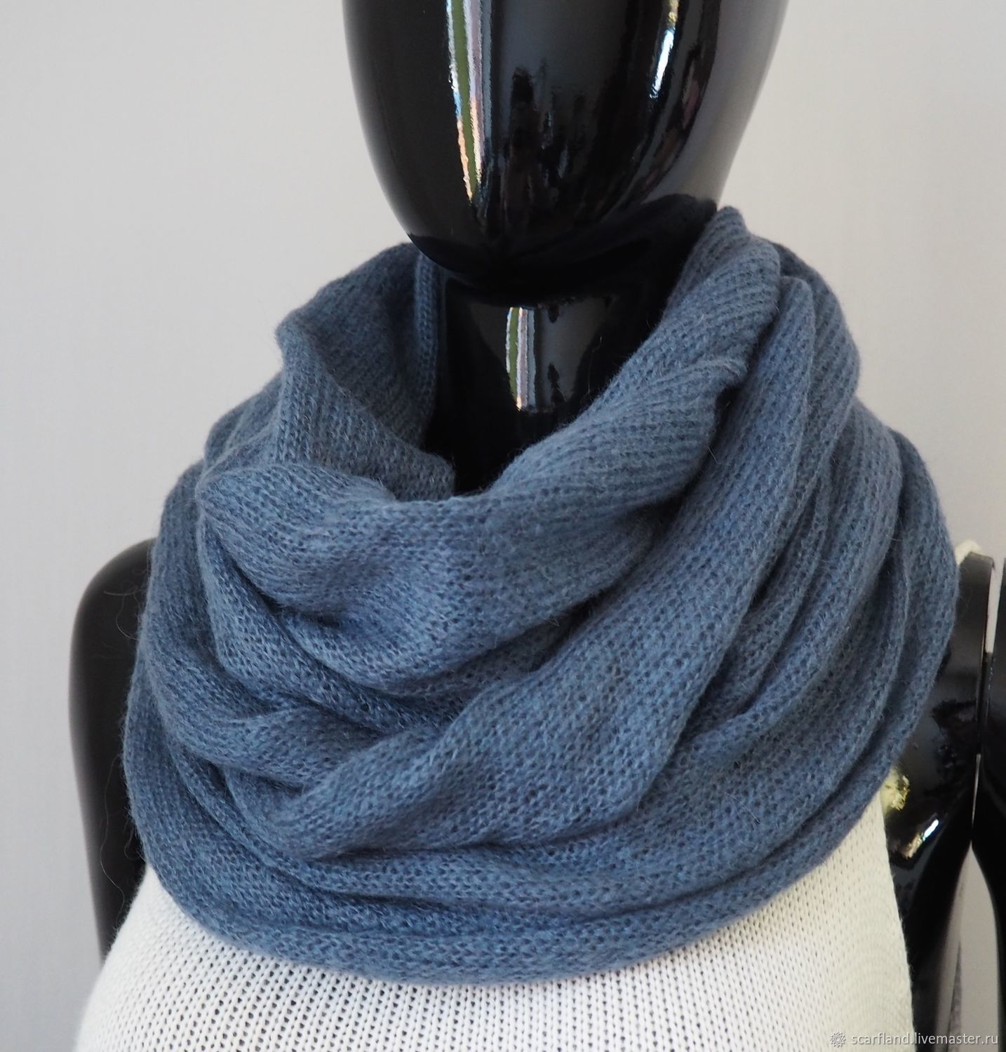 Snood knitted from kid-mohair (grey-blue), Scarves, Cheboksary,  Фото №1