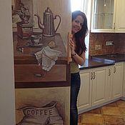 """Дизайн и реклама ручной работы. Ярмарка Мастеров - ручная работа Роспись холодильника """"Утренний кофе"""". Handmade."""