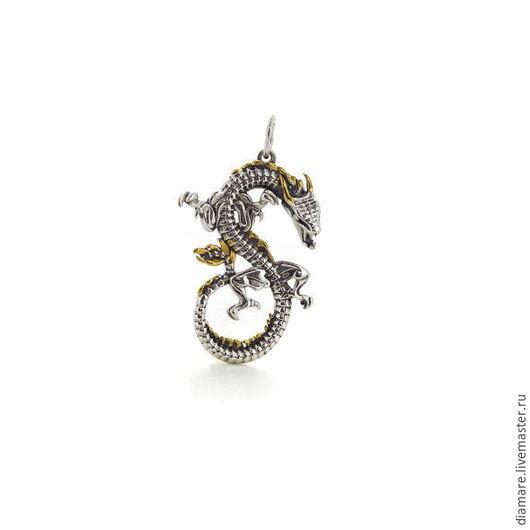 Арт. 03-0084. Серебряная подвеска  `Дракон вечности`.