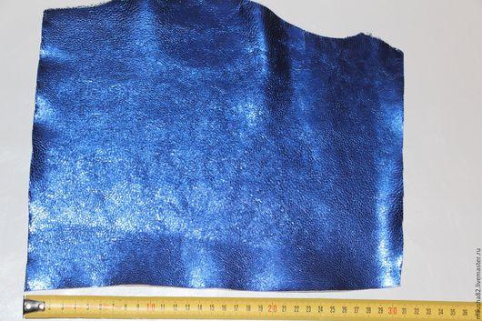 Шитье ручной работы. Ярмарка Мастеров - ручная работа. Купить кожа в кусках (синий металл). Handmade. Натуральная кожа, синий