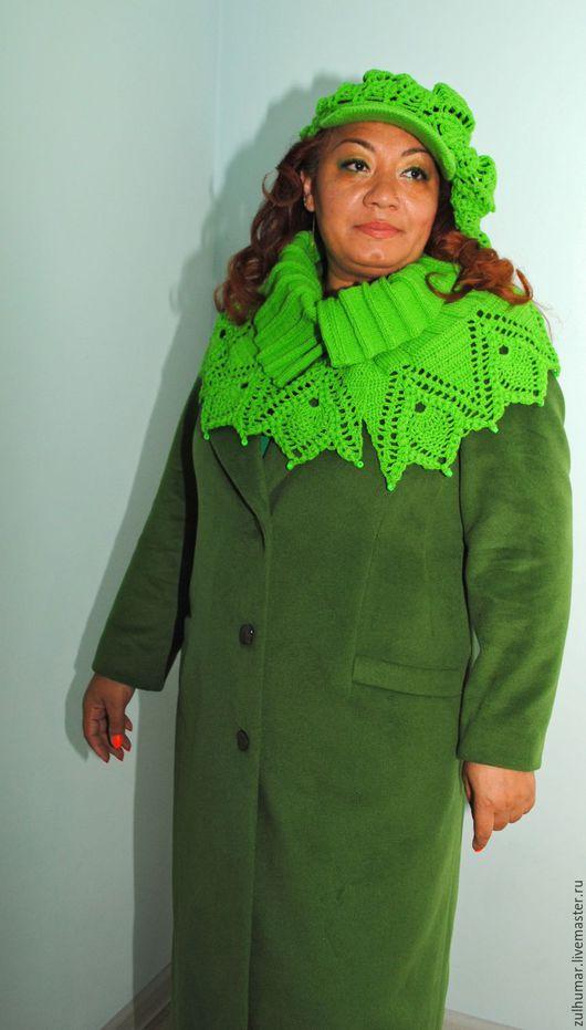 Комплекты аксессуаров ручной работы. Ярмарка Мастеров - ручная работа. Купить Кепи и объемный воротник. Handmade. Зеленый цвет
