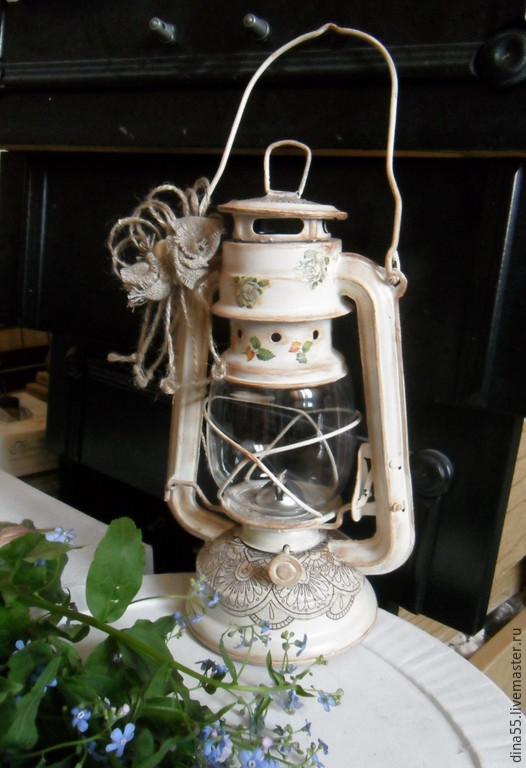 Освещение ручной работы. Ярмарка Мастеров - ручная работа. Купить Керосиновая лампа-фонарь  Кружевница. Handmade. Бежевый, кружевная