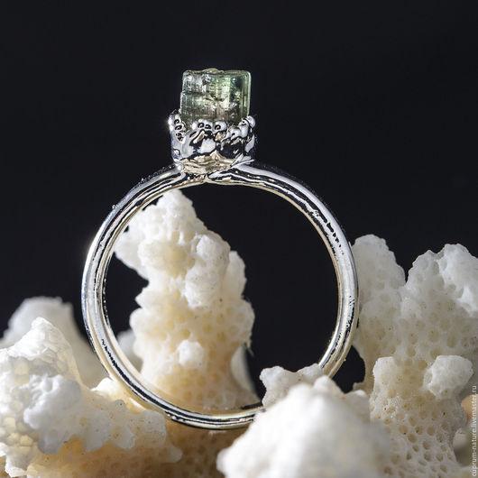 """Кольца ручной работы. Ярмарка Мастеров - ручная работа. Купить Кольцо """"Турмалин"""" (натуральные камни, кристаллы) 57/60. Handmade. Зеленый"""