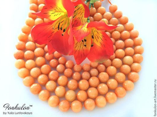 Для украшений ручной работы. Ярмарка Мастеров - ручная работа. Купить Агат Морковный светло-оранжевый бусины 10мм, 12мм Огранка. Handmade.