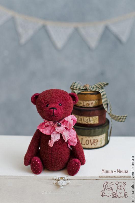 Мишки Тедди ручной работы. Ярмарка Мастеров - ручная работа. Купить Cherry. Handmade. Бордовый, тедди мишка, стеклянные глазки