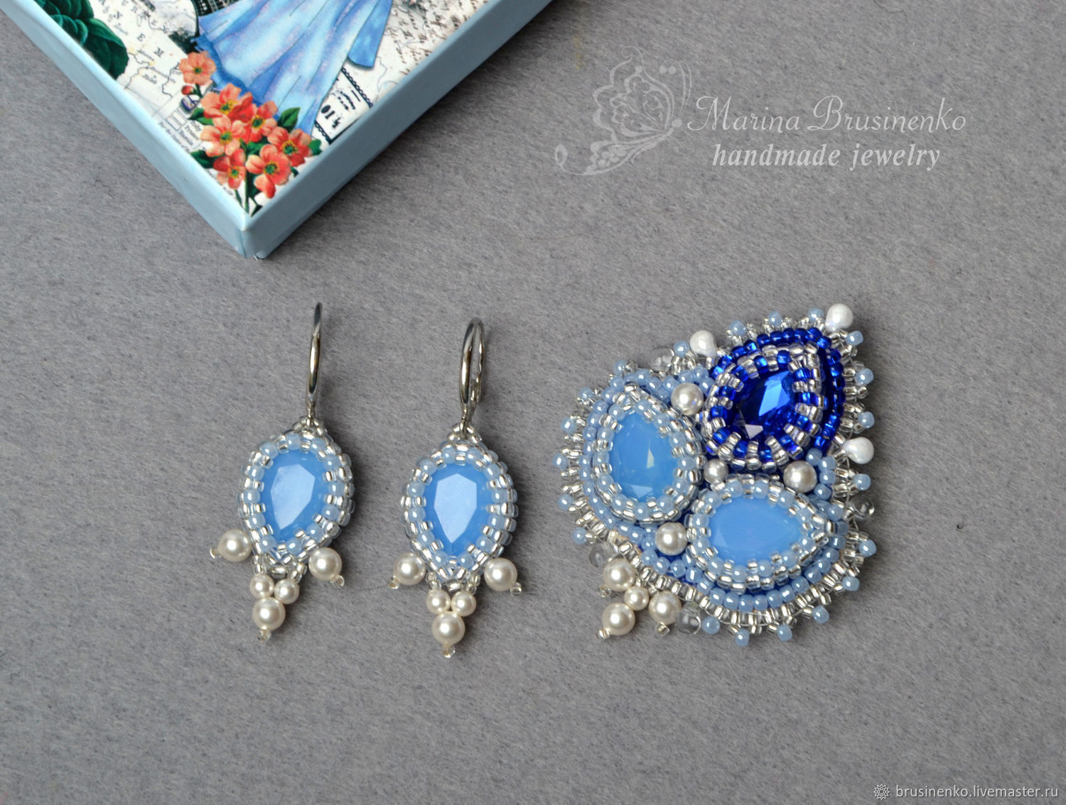 Brooch and earrings beaded with pearls, Swarovski Infanta blue, Jewelry Sets, Novosibirsk,  Фото №1