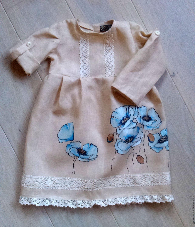 Лен платье роспись