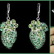 Украшения handmade. Livemaster - original item Cleopatra Earrings, Emerald, Chrome Diopside, Silver, Gold 585. Handmade.