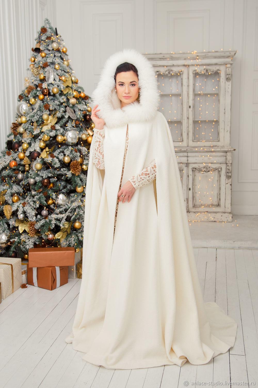 Свадебное пальто Белое Женское Пальто с Мехом «Герда 1», Накидки, Москва,  Фото №1