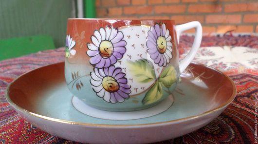 Винтажная посуда. Ярмарка Мастеров - ручная работа. Купить Красивоя чайная пара ромашки. Handmade. Черный, посуда, фарфор
