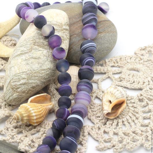 Для украшений ручной работы. Ярмарка Мастеров - ручная работа. Купить Агат матовый фиолетовый бусины шар 8мм - арт.16-21. Handmade.