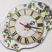 Для дома и интерьера ручной работы. Ярмарка Мастеров - ручная работа Часы фигурные Фиалки. Handmade.