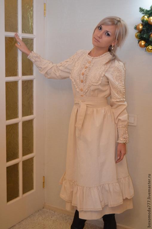 Платья ручной работы. Ярмарка Мастеров - ручная работа. Купить платье бохо,, Винтаж 2,,. Handmade. Бежевый, кружева, для женщины