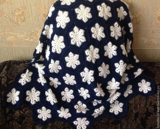 """Пледы и одеяла ручной работы. Ярмарка Мастеров - ручная работа. Купить Плед в коляску """"Снежинка"""". Handmade. Рисунок, плед для новорожденного"""
