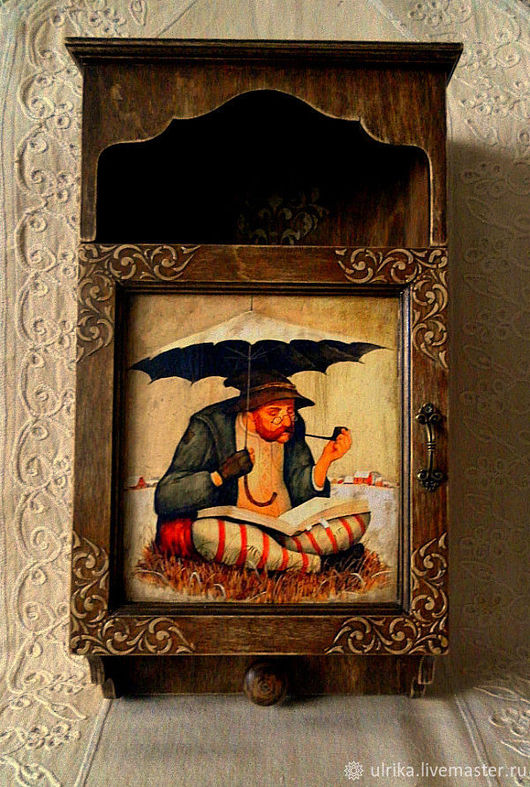 """Прихожая ручной работы. Ярмарка Мастеров - ручная работа. Купить Ключница большая """" Время раздумий """". Handmade. Коричневый"""