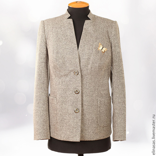 Пиджаки, жакеты ручной работы. Ярмарка Мастеров - ручная работа. Купить Жакет серый твидовый в стиле casual с жилетом. Handmade.