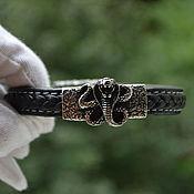 Украшения handmade. Livemaster - original item Leather bracelet with steel jewelry unisex Cobra. Handmade.