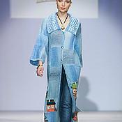 """Пальто ручной работы. Ярмарка Мастеров - ручная работа Пальто """"Домики"""" объемное голубое. Handmade."""