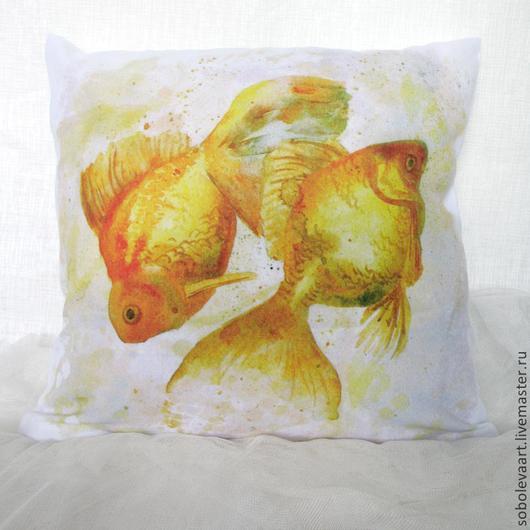 """Текстиль, ковры ручной работы. Ярмарка Мастеров - ручная работа. Купить Наволочка на Подушку """"Золотые рыбки""""  Подушка с золотыми рыбками. Handmade."""