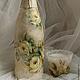 """Подарочное оформление бутылок ручной работы. Ярмарка Мастеров - ручная работа. Купить Декор бутыли """"For you"""". Handmade. пасты"""