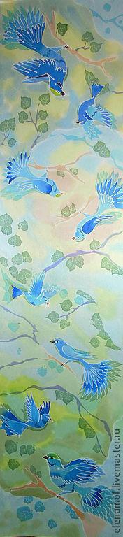 Шарфы и шарфики ручной работы. Ярмарка Мастеров - ручная работа. Купить Синие птицы. Handmade. Шелковый шарф, расписной шарф